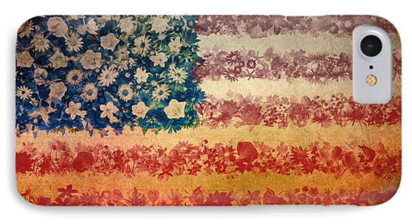 Usa Flag Floral 4 IPhone Case
