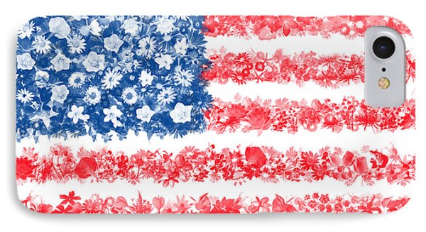 Usa Flag Floral IPhone Case