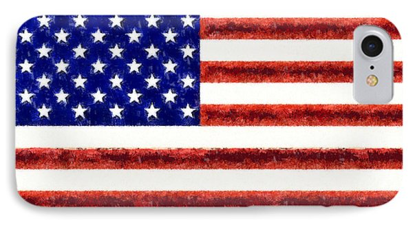 Usa Flag  - Free Style -  - Da IPhone Case by Leonardo Digenio
