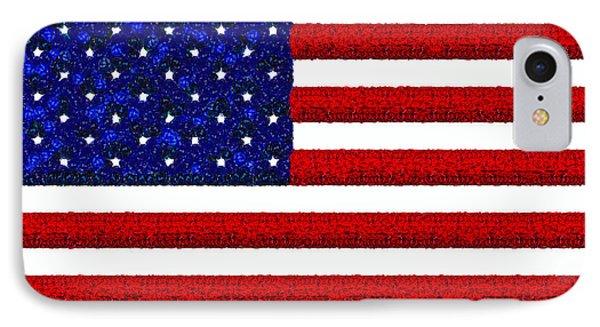 Usa Flag  - Gemstone Painting Style -  - Pa IPhone Case by Leonardo Digenio