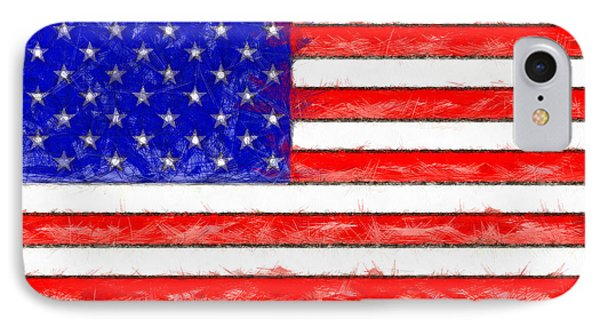 Usa Flag  - Pencil Style -  - Pa IPhone Case by Leonardo Digenio