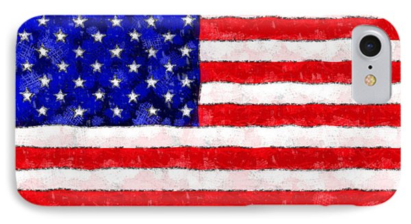 Usa Flag  - Wax Style -  - Da IPhone Case by Leonardo Digenio