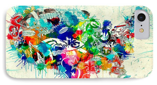 Usa Nfl Map Collage 5 IPhone Case by Bekim Art