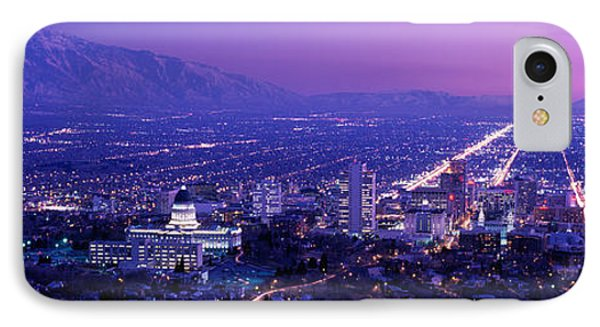 Usa, Utah, Salt Lake City, Aerial, Night IPhone Case