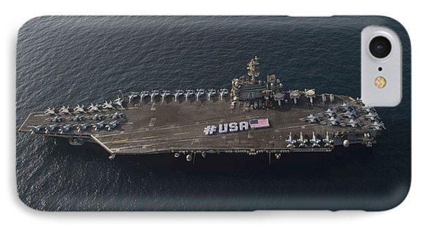Usa With The American Flag On The Flight Deck IPhone Case by Celestial Images