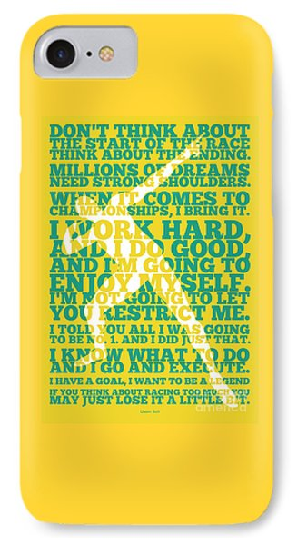 Usain Bolt Sport Inspirational Quotes Poster IPhone Case by Lab No 4 The Quotography Department