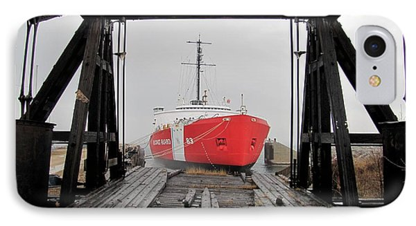 Uscgc Mackinaw Framed By Railroad Elevator IPhone Case