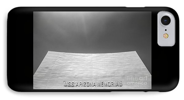 Uss Arizona Memorial In Black And White IPhone Case by Diane Diederich