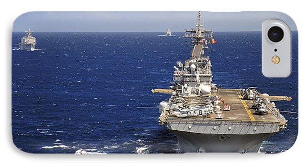 Uss Boxer Leads A Convoy Of Ships Phone Case by Stocktrek Images