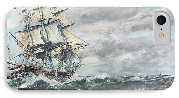 Uss Constitution Heads For Hm Frigate Guerriere IPhone Case by Vincent Alexander Booth