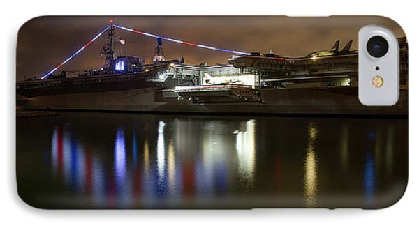 IPhone Case featuring the photograph Uss Midway At Night by Nathan Rupert
