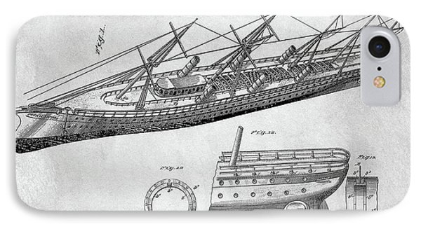 Uss Pocahontas Ship Illustration IPhone Case by Dan Sproul