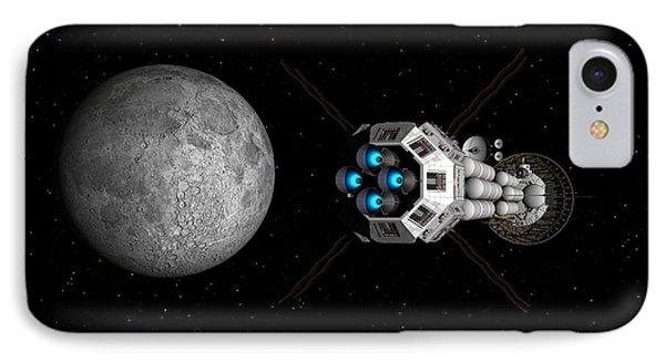 Uss Savannah Passing Earth's Moon IPhone Case by David Robinson