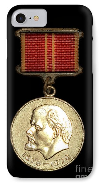 IPhone Case featuring the photograph Ussr Army Medal With Lenin 1870-1970 by Yurix Sardinelly