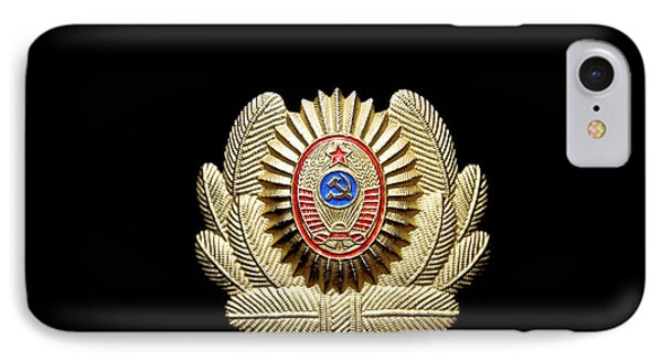 IPhone Case featuring the photograph Ussr Army Officer Cap Badge by Yurix Sardinelly