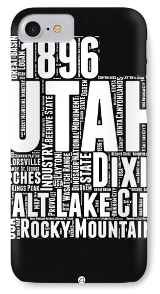 Utah Black And White Word Cloud Map IPhone Case