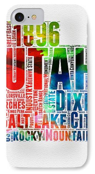 Utah Watercolor Word Cloud Map IPhone Case by Naxart Studio