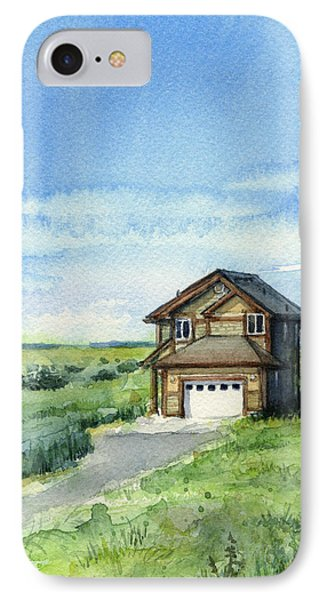Vacation House In A Field - Watercolor - Long Beach, Wa IPhone Case by Olga Shvartsur