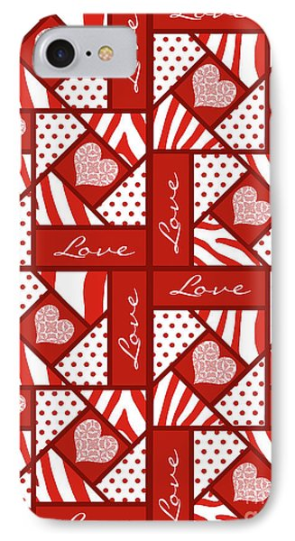 Valentine 4 Square Quilt Block IPhone Case by Methune Hively