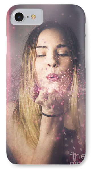 Valentine Girl Making Wish Kiss IPhone Case