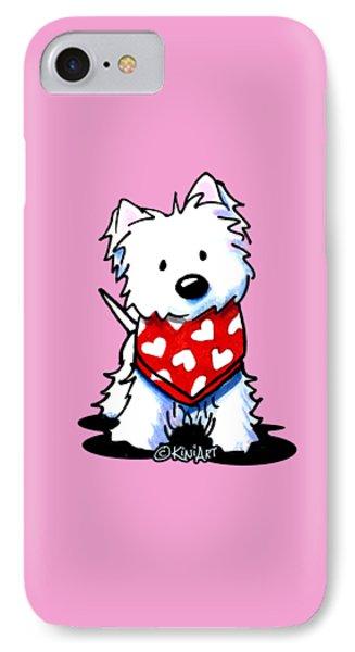 Valentine Westie IPhone Case by Kim Niles