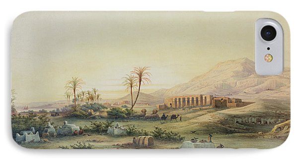 Valley Of The Nile With The Ruins Of The Temple Of Seti I Phone Case by Prosper Georges Antoine Marilhat