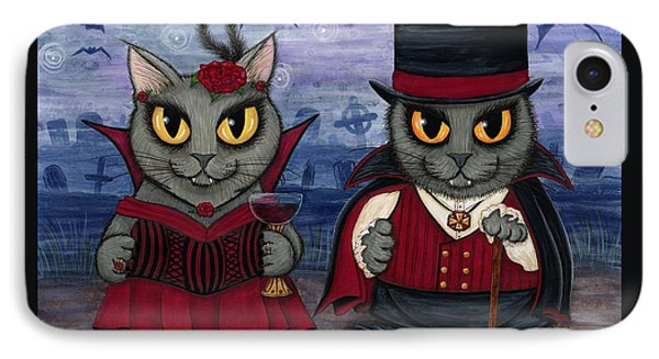 IPhone Case featuring the painting Vampire Cat Couple by Carrie Hawks