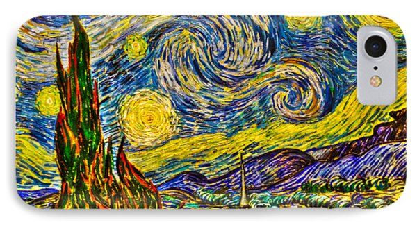 Van Gogh's 'starry Night' - Hdr Phone Case by Randy Aveille
