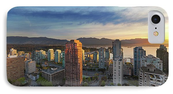 Vancouver Bc Cityscape At Sunset Phone Case by David Gn