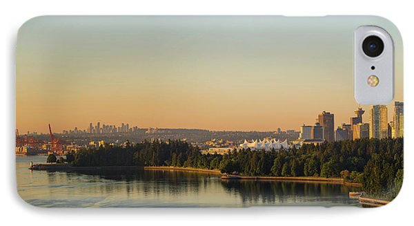 Vancouver Bc Cityscape By Stanley Park Morning View Phone Case by David Gn