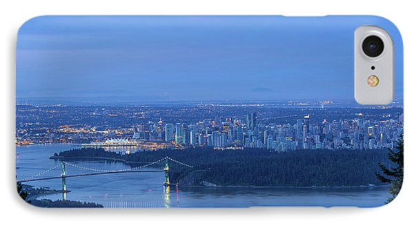 Vancouver Bc Cityscape During Blue Hour Dawn Phone Case by David Gn