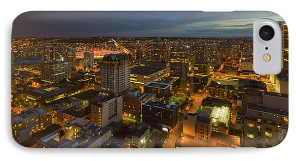 Vancouver Bc Cityscape During Evening Twilight Phone Case by David Gn