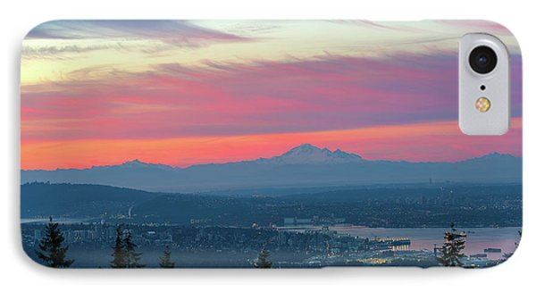 Vancouver Bc Cityscape With Cascade Range Morning View Phone Case by David Gn