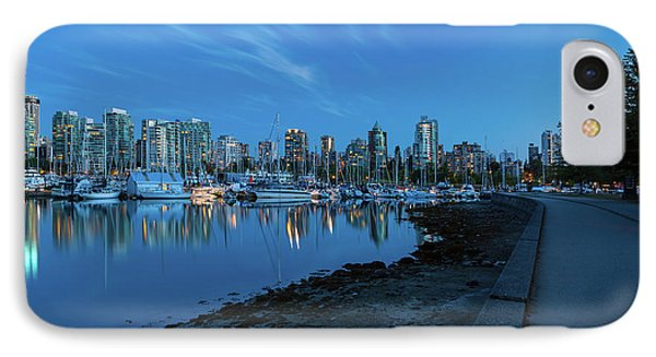 Vancouver Bc Skyline Along Stanley Park Seawall Phone Case by David Gn