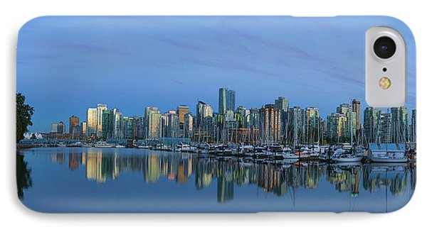 Vancouver Bc Skyline During Blue Hour Panorama Phone Case by David Gn