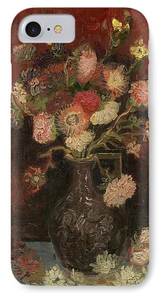 Vase With Chinese Asters And Gladioli IPhone Case