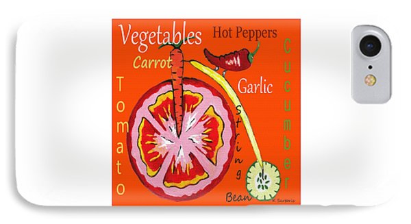 IPhone Case featuring the mixed media Vegetables by Kathleen Sartoris