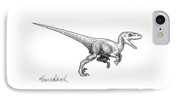 Dinosaur iPhone 7 Case - Velociraptor - Dinosaur Black And White Ink Drawing by Karen Whitworth