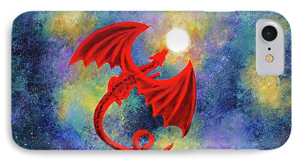 Velvet Red Dragon In Cosmic Moonlight IPhone Case by Laura Iverson