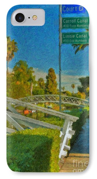IPhone Case featuring the photograph Venice Canal Bridge Signs by David Zanzinger