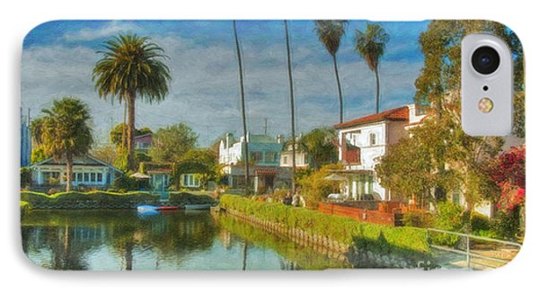 Venice Canal Houses Watercolor  IPhone Case by David Zanzinger
