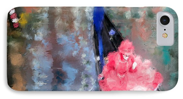 Venice Carnival. Masked Woman In A Gondola IPhone Case by Juan Carlos Ferro Duque