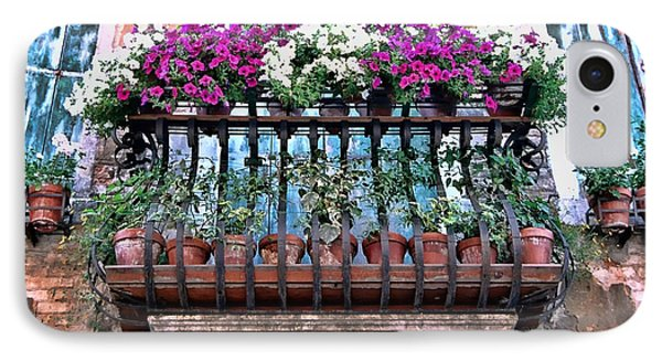 IPhone Case featuring the photograph Venice Flower Balcony by Allen Beatty