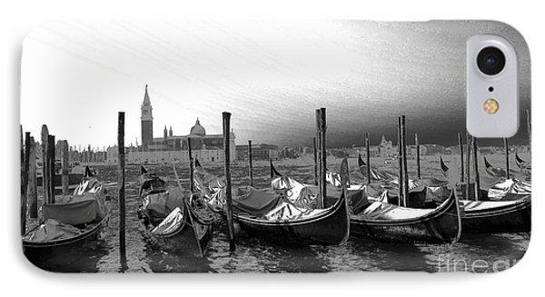 Venice Gondolas Black And White Phone Case by Rebecca Margraf