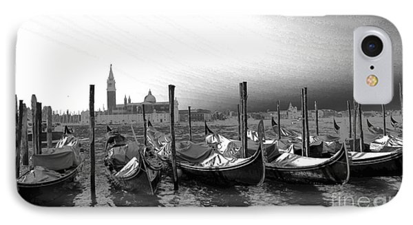 Venice Gondolas Black And White IPhone Case by Rebecca Margraf