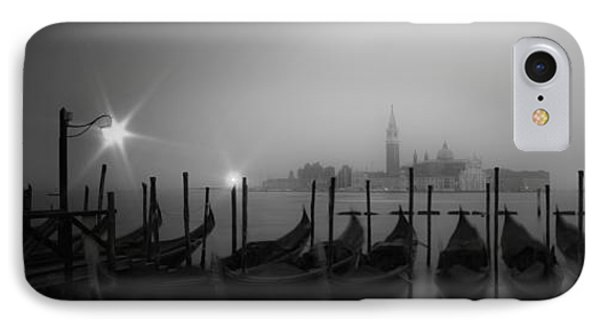 Venice Gondolas On A Foggy Morning Panoramic View IPhone Case