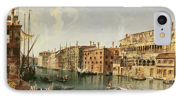Venice, Grand Canal And The Fondaco Dei Turchi  IPhone Case by Michele Marieschi