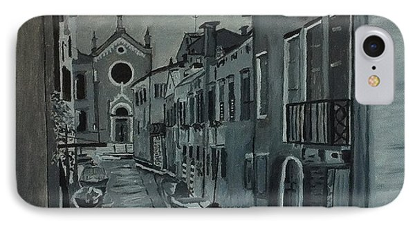 IPhone Case featuring the painting Venice In Grey And White by Rod Jellison
