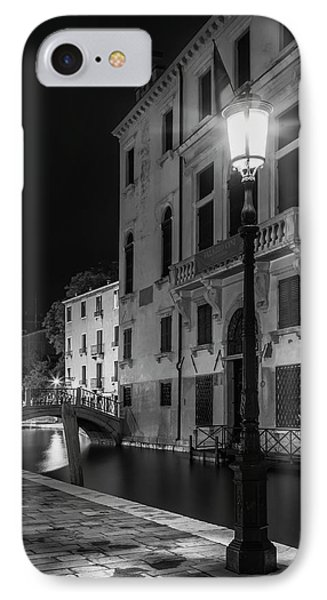Venice Rio Di San Vio And Palazzo Cini - Monochrome IPhone Case
