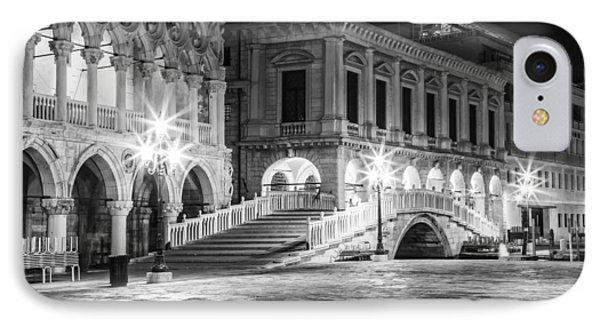 Venice Riva Degli Schiavoni By Night Black And White IPhone Case